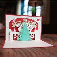 Christmas Greeting Card, Papier, Weihnachtsbaum, 3D-Effekt & Weihnachtsschmuck, rot, 100x150mm, verkauft von PC