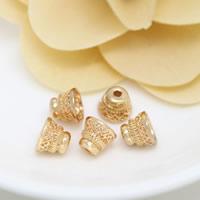 Messing Perlenkappe, 24 K vergoldet, hohl, frei von Nickel, Blei & Kadmium, 8x7mm, Bohrung:ca. 1.5mm, 50PCs/Menge, verkauft von Menge