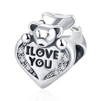 kommen on® Schmuck Beads, Thailand, mit organisches Glas, Herz, Wort ich liebe dich, Micro pave Zirkonia & ohne troll, 9x10mm, Bohrung:ca. 5mm, verkauft von PC