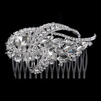 Braut Dekoratives Haarkämmchen, Zinklegierung, mit Kristall, silberfarben plattiert, für Braut & facettierte & mit Strass, frei von Blei & Kadmium, 90x60mm, 5PCs/Tasche, verkauft von Tasche
