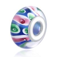 kommen on® Schmuck Beads, Lampwork, Rondell, Sterling Silber-Dual-Core ohne troll, frei von Nickel, Blei & Kadmium, 8x15mm, Bohrung:ca. 5mm, verkauft von PC