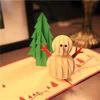 Christmas Greeting Card, Papier, Schneemann, 3D-Effekt & Weihnachtsschmuck, rot, 150x150mm, verkauft von PC