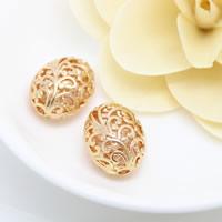 Messing hohle Perlen, oval, 24 K vergoldet, frei von Nickel, Blei & Kadmium, 20x16x12mm, Bohrung:ca. 2.5mm, 10PCs/Menge, verkauft von Menge