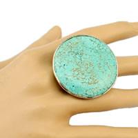 Türkis Fingerring, Zinklegierung, mit Synthetische Türkis, goldfarben plattiert, einstellbar, frei von Nickel, Blei & Kadmium, Größe:9, 3PCs/Menge, verkauft von Menge