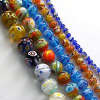 Murano Millefiori Lampwork Perle, rund, handgemacht, verschiedene Größen vorhanden, keine, verkauft von Menge