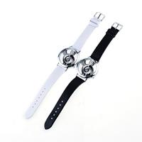 Damen Armbanduhr, PU Leder, mit Zinklegierung Zifferblatt & Glas, Edelstahl Dornschließe, Platinfarbe platiniert, mit Note-Muster & einstellbar, keine, 40mm, 18mm, Länge:ca. 9 ZollInch, verkauft von PC