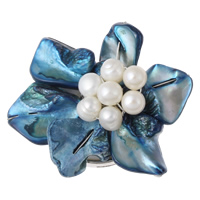 Muschel Schnappschließe, mit kultivierte Süßwasser kernhaltige Perlen & Messing, Blume, Platinfarbe platiniert, 3-Strang, 48x20mm, Bohrung:ca. 1.5mm, verkauft von PC