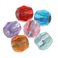 Silberdruck Acrylperlen, Acryl, Trommel, facettierte & transluzent, gemischte Farben, 8x7mm, Bohrung:ca. 2mm, ca. 2700PCs/Tasche, verkauft von Tasche
