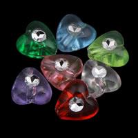 Silberdruck Acrylperlen, Acryl, Herz, transparent, gemischte Farben, 8x4mm, Bohrung:ca. 1mm, ca. 3400PCs/Tasche, verkauft von Tasche
