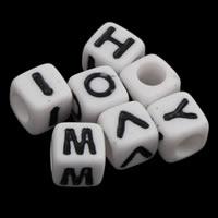 Alphabet Acryl Perlen, Würfel, mit Brief Muster & Volltonfarbe, weiß, 6x6mm, Bohrung:ca. 3mm, ca. 3000PCs/Tasche, verkauft von Tasche