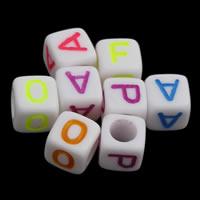 Alphabet Acryl Perlen, gemischt & Volltonfarbe, weiß, 6x6mm, Bohrung:ca. 3mm, ca. 3000PCs/Tasche, verkauft von Tasche