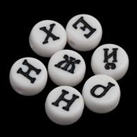 Alphabet Acryl Perlen, flache Runde, gemischtes Muster & mit Brief Muster & Volltonfarbe, weiß, 4x7mm, Bohrung:ca. 1mm, ca. 3600PCs/Tasche, verkauft von Tasche