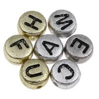 Alphabet Acryl Perlen, flache Runde, plattiert, gemischtes Muster & mit Brief Muster, keine, 4x7mm, Bohrung:ca. 1mm, ca. 3600PCs/Tasche, verkauft von Tasche