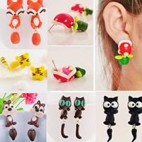 Polymer Ton Cartoon-Split-Ohrring, Edelstahl Stecker, handgemacht, abnehmbare & verschiedene Stile für Wahl, frei von Blei & Kadmium, 30-60mm, verkauft von Paar