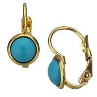 Edelstahl-Hebel zurück-Ohrring, Edelstahl, mit Harz, goldfarben plattiert, 8x15x10mm, 12/Paar, verkauft von Paar