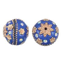 Strass Zinklegierung Perlen, mit Indonesien, rund, KC goldfarben plattiert, mit Strass, frei von Blei & Kadmium, 24mm, Bohrung:ca. 2mm, verkauft von PC
