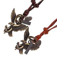 Kuhhaut Pullover Halskette, mit Zinklegierung, Adler, plattiert, einstellbar & mit Brief Muster, keine, frei von Nickel, Blei & Kadmium, 55x60mm, Länge:ca. 30.7 ZollInch, 2SträngeStrang/Menge, verkauft von Menge