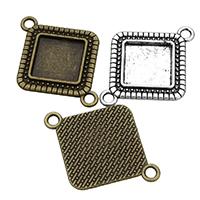 Zinklegierung Schmuckverbinder Einstellung, Rhombus, plattiert, 1/1-Schleife, keine, frei von Nickel, Blei & Kadmium, 39x29x2mm, Bohrung:ca. 3mm, Innendurchmesser:ca. 20x20mm, 200PCs/Menge, verkauft von Menge