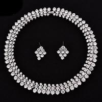Braut Schmucksets, Ohrring & Halskette, Messing, platiniert, für Braut & mit kubischem Zirkonia, frei von Nickel, Blei & Kadmium, 25x19mm, Länge:ca. 15.5 ZollInch, verkauft von setzen