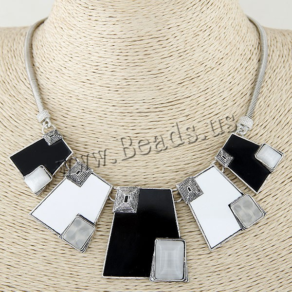 Buy Zinc Alloy Jewelry Necklace Cats Eye platinum color plated lead & cadmium free 400x120x42mm Sold Per Approx 15.75 Inch Strand