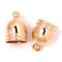 Messing Endkappe, goldfarben plattiert, frei von Blei & Kadmium, 10x14mm, Bohrung:ca. 1mm, 9mm, 1000PCs/Tasche, verkauft von Tasche