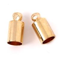 Messing Endkappe, Zylinder, goldfarben plattiert, frei von Blei & Kadmium, 5x10mm, Bohrung:ca. 1mm, 4mm, 1000PCs/Tasche, verkauft von Tasche