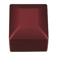 PU Leder Einzelring Kasten, mit Kleber Film & Baumwollsamt, Rechteck, rot, 59.50x65x49mm, 10PCs/Menge, verkauft von Menge