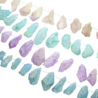 Natürliche Beschichtung Quarz Perlen, Natürlicher Quarz, bunte Farbe plattiert, keine, 17x44x12mm-26x64x30mm, Bohrung:ca. 1mm, ca. 13PCs/Strang, verkauft per ca. 15.5 ZollInch Strang