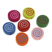 Holzperlen, Holz, flache Runde, Drucken, gemischte Farben, 17x6mm, Bohrung:ca. 1mm, 500PCs/Tasche, verkauft von Tasche