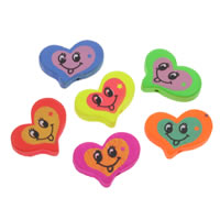 Holz Smile Face-Muster Bead, Herz, Drucken, gemischte Farben, 24x20x4mm, Bohrung:ca. 1mm, 500PCs/Tasche, verkauft von Tasche
