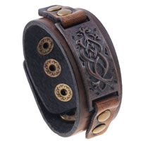 Unisex-Armband & Bangle, Kuhhaut, mit Zinklegierung, plattiert, einstellbar, 27mm, verkauft per ca. 8.6 ZollInch Strang