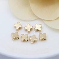 24K Gold Perlen, Messing, Blume, 24 K vergoldet, frei von Nickel, Blei & Kadmium, 6x3mm, Bohrung:ca. 0.8mm, 100PCs/Menge, verkauft von Menge