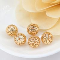 24K Gold Perlen, Messing, rund, 24 K vergoldet, hohl, frei von Nickel, Blei & Kadmium, 11.50mm, Bohrung:ca. 1.5mm, 30PCs/Menge, verkauft von Menge
