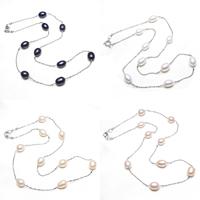 Messing Halskette, mit Natürliche kultivierte Süßwasserperlen, Reis, Platinfarbe platiniert, Kugelkette, keine, frei von Nickel, Blei & Kadmium, 7-8mm, verkauft per ca. 17 ZollInch Strang