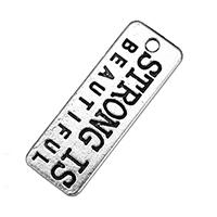 Zink-Legierung Anhänger Nachricht, Zinklegierung, Rechteck, antik silberfarben plattiert, mit Brief Muster & doppelseitig, frei von Nickel, Blei & Kadmium, 27.50x10x1mm, Bohrung:ca. 2mm, 500PCs/Tasche, verkauft von Tasche