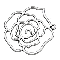Zinklegierung Blume Anhänger, antik silberfarben plattiert, hohl, frei von Nickel, Blei & Kadmium, 40x42x2mm, Bohrung:ca. 2.5mm, 100PCs/Tasche, verkauft von Tasche