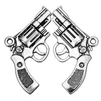 Zinklegierung Pistole Anhänger, antik silberfarben plattiert, frei von Nickel, Blei & Kadmium, 29x24x4.50mm, Bohrung:ca. 2mm, 200PCs/Tasche, verkauft von Tasche