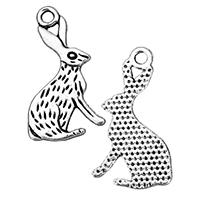 Zinklegierung Tier Anhänger, Hase, antik silberfarben plattiert, frei von Nickel, Blei & Kadmium, 15x25x1mm, Bohrung:ca. 2mm, 1000PCs/Tasche, verkauft von Tasche