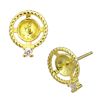 925 Sterling Silber Ohrring Stecker, vergoldet, Micro pave Zirkonia, 9.5x12x15.5mm, 0.8mm, 0.9mm, 5PaarePärchen/Menge, verkauft von Menge