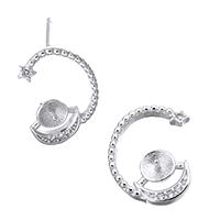 925 Sterling Silber Ohrring Stecker, Mond und Sterne, Micro pave Zirkonia, 10x15x12mm, 0.8mm, 0.8mm, 5PaarePärchen/Menge, verkauft von Menge