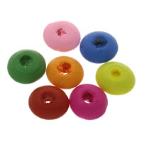 Holz Perle, Rondell, verschiedene Größen vorhanden, gemischte Farben, Bohrung:ca. 1mm, verkauft von Tasche