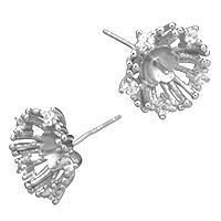 925 Sterling Silber Ohrring Stecker, Blume, Micro pave Zirkonia, 13x13x16mm, 0.8mm, 0.9mm, 5PaarePärchen/Menge, verkauft von Menge