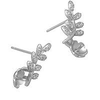 925 Sterling Silber Ohrring Stecker, Branch, Micro pave Zirkonia, 18x28x13mm, 0.8mm, 0.9mm, 5PaarePärchen/Menge, verkauft von Menge