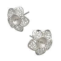 925 Sterling Silber Ohrring Stecker, Blume, 15.5x15.5x14mm, 1mm, 0.9mm, 5PaarePärchen/Menge, verkauft von Menge
