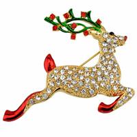 Weihnachten Broschen, Zinklegierung, Hirsch, goldfarben plattiert, Weihnachtsschmuck & Emaille & mit Strass, frei von Blei & Kadmium, 43x50mm, 3PCs/Tasche, verkauft von Tasche
