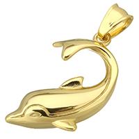 Edelstahl Tieranhänger, Dolphin, goldfarben plattiert, 28x36x6mm, Bohrung:ca. 5x8.5mm, verkauft von PC