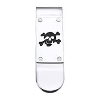 Mode-Geld-Clip, Edelstahl, mit Totenkopf-Muster & Emaille, 16x53x5mm, verkauft von PC