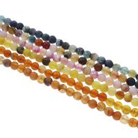 Natürliche Crackle Achat Perlen, Geknister Achat, rund, facettierte, keine, 6mm, Bohrung:ca. 1mm, Länge:ca. 14.5 ZollInch, 10SträngeStrang/Tasche, ca. 62PCs/Strang, verkauft von Tasche