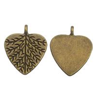 Zinklegierung Blatt Anhänger, antike Bronzefarbe plattiert, frei von Blei & Kadmium, 20x24x1.50mm, Bohrung:ca. 1.5mm, 100G/Tasche, verkauft von Tasche