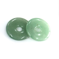 Grüner Aventurin Anhänger, flache Runde, natürlich, 30x4mm, Bohrung:ca. 6mm, verkauft von PC